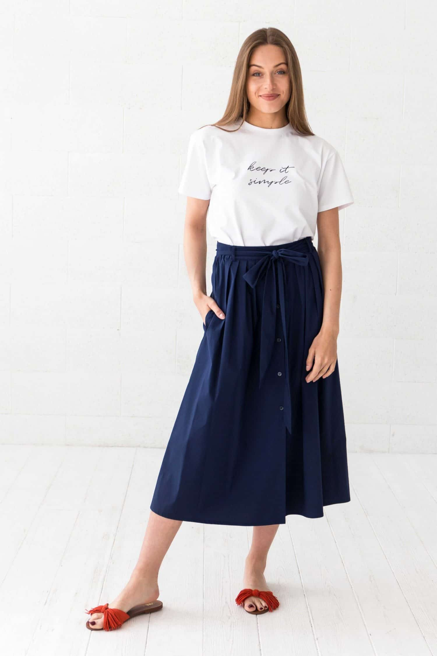Navy Midi Skirt Gigi