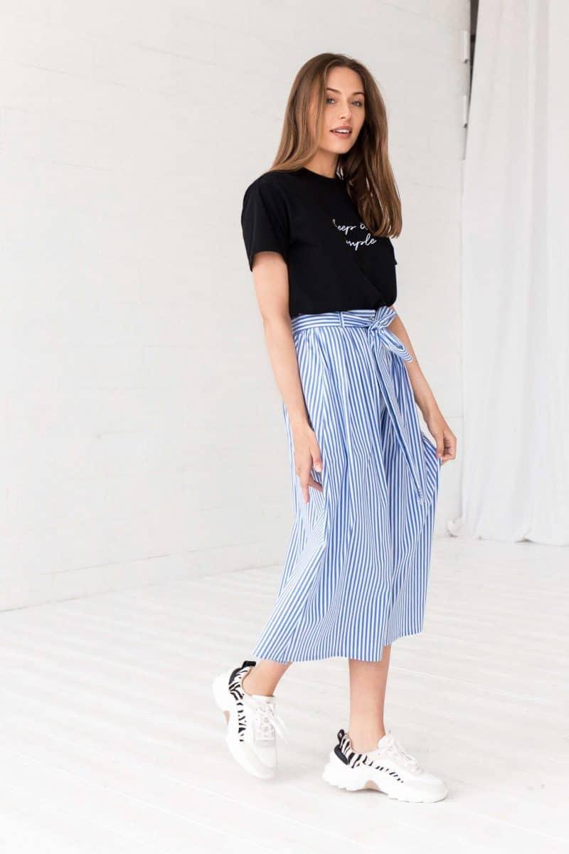 Blue Striped Midi Skirt Gigi