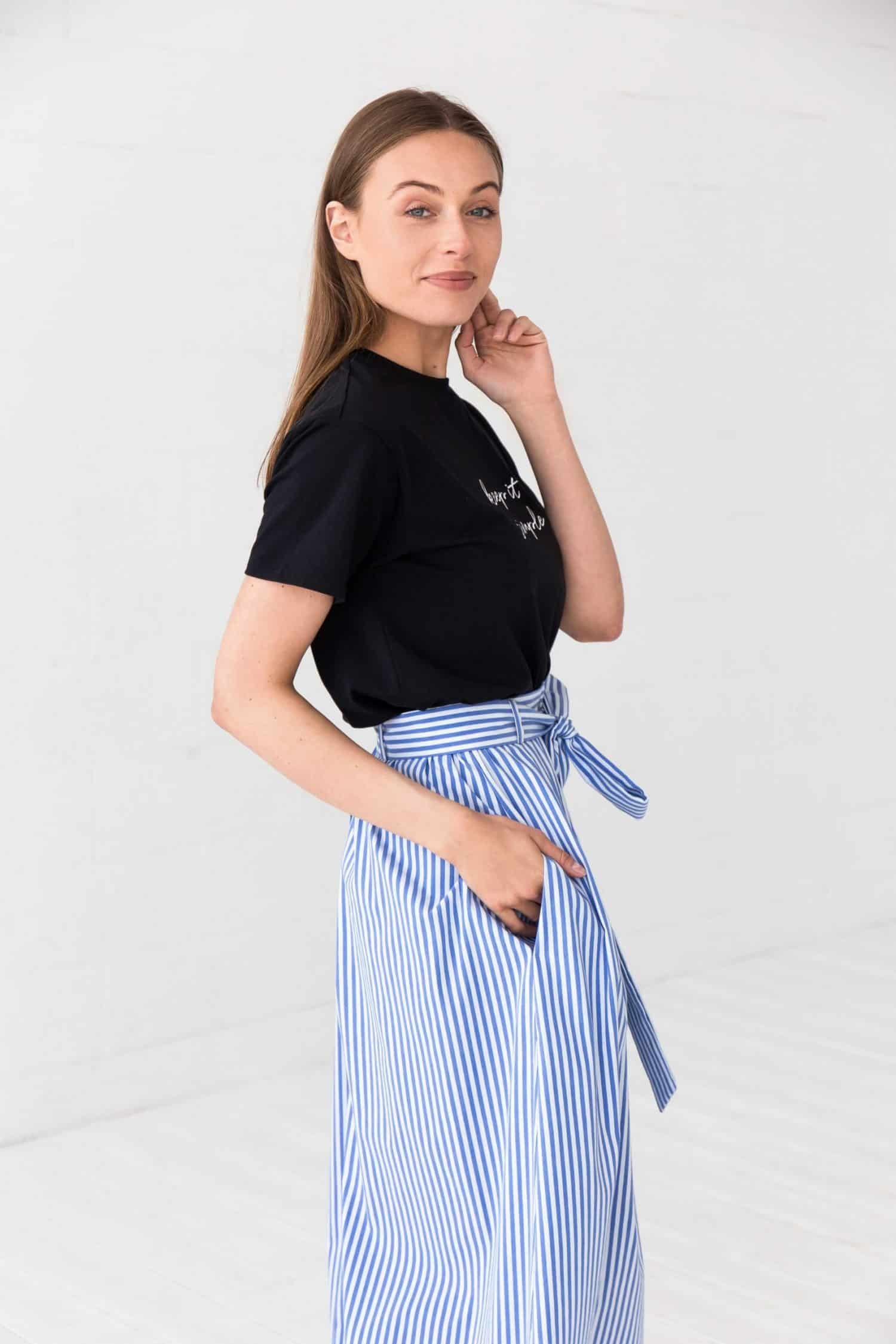 Blue Striped Midi Skirt Gigi