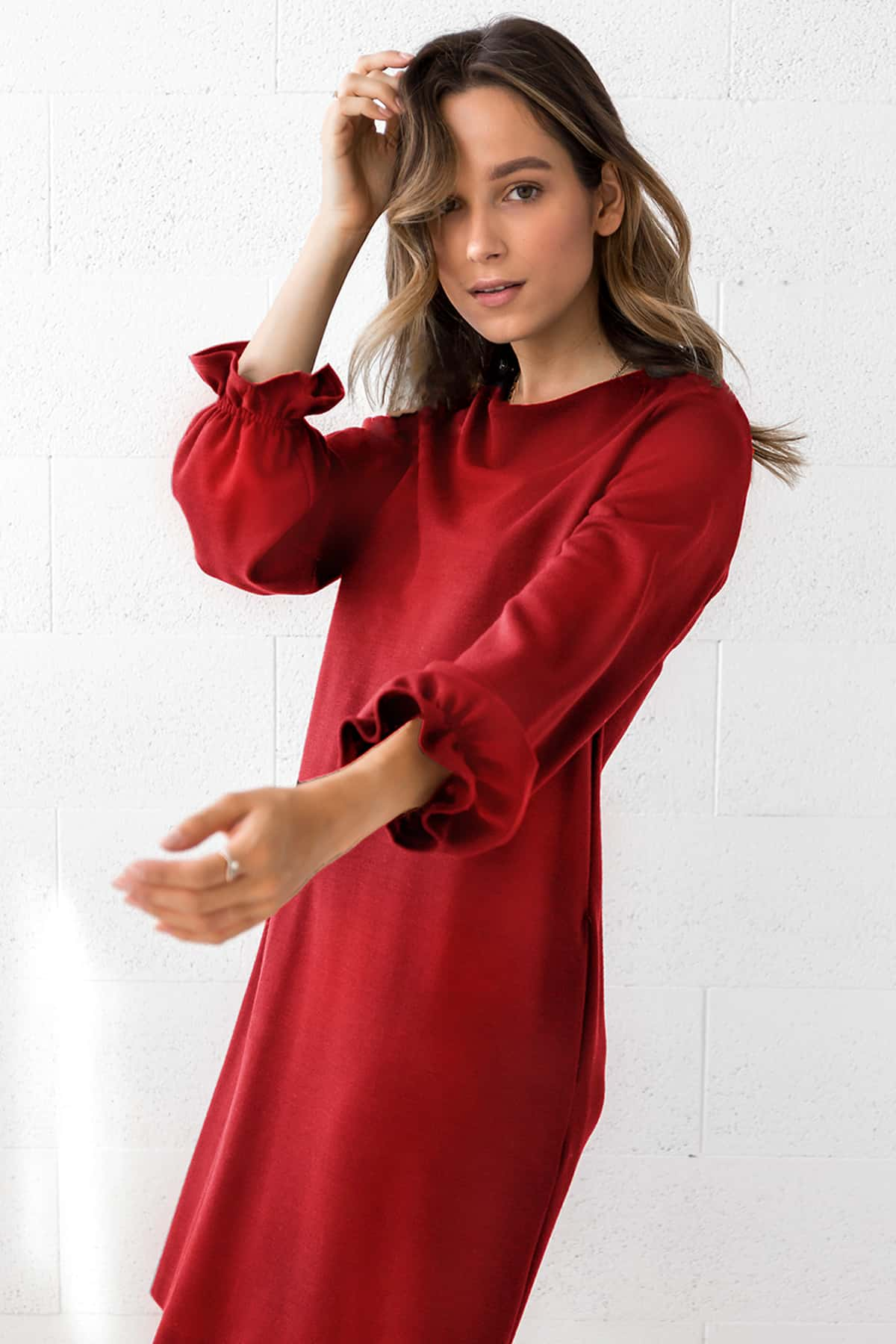 RED WOOL DRESS ALEXIS