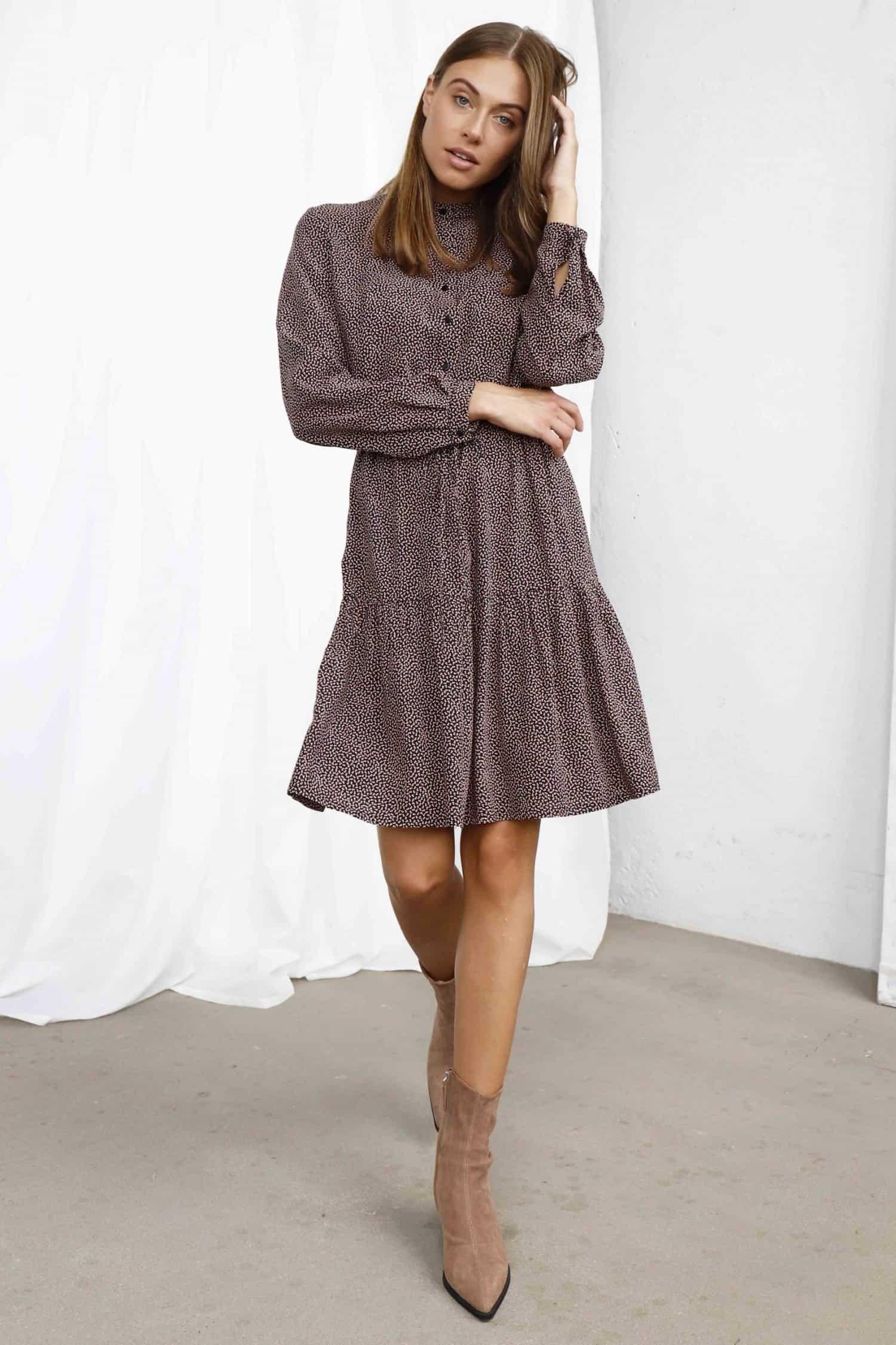 Printed brown dress Melodie