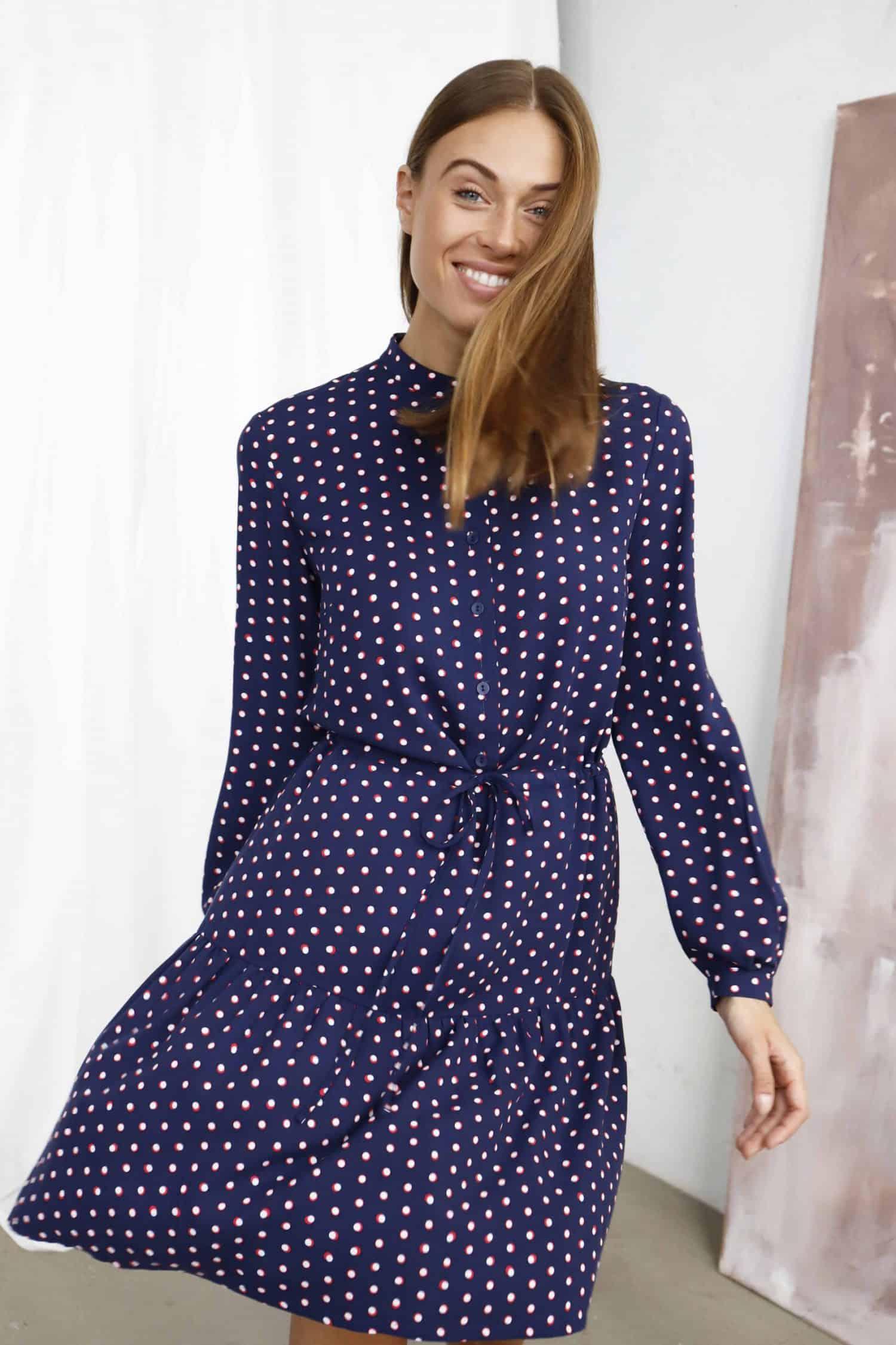 Navy print Dress Melodie