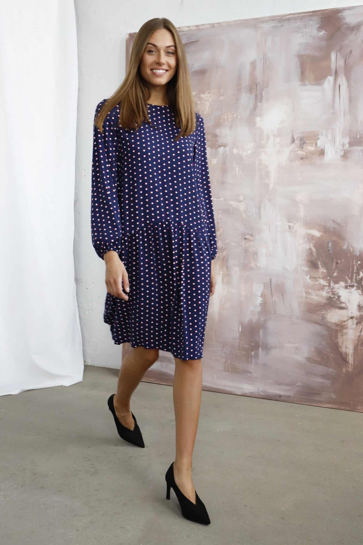 Navy Blue Dotted Print Dress KLARA