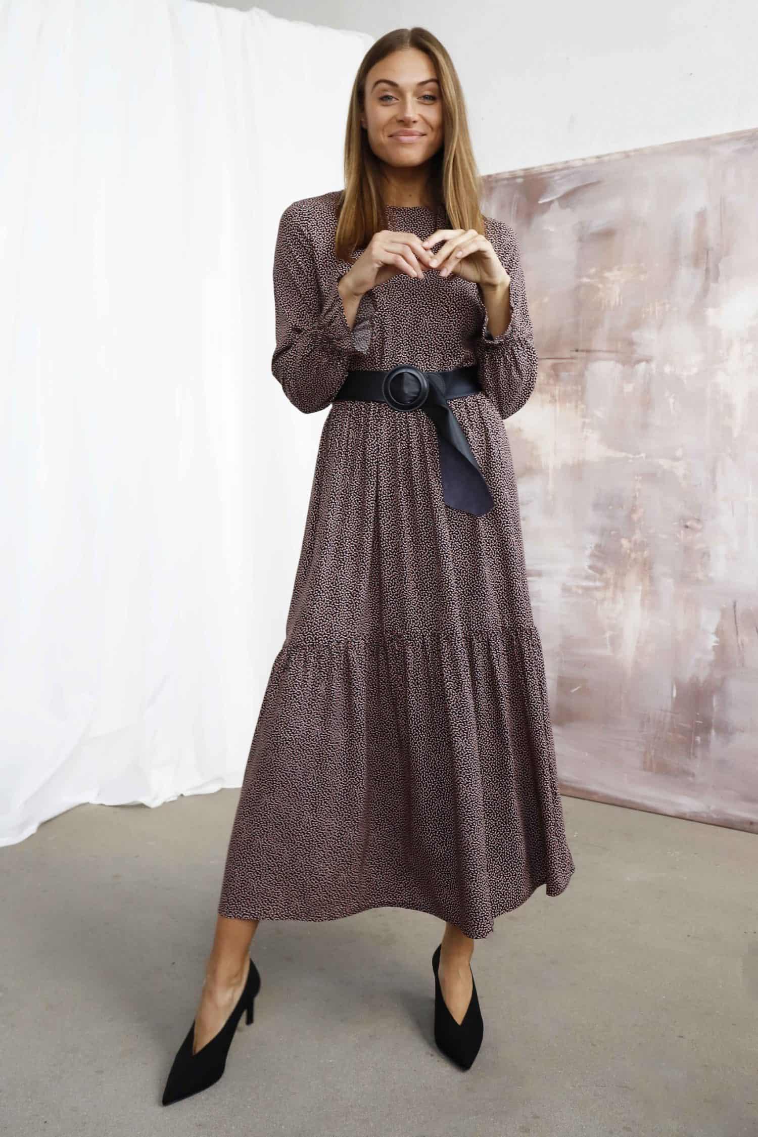 Printed brown dress LEONIE