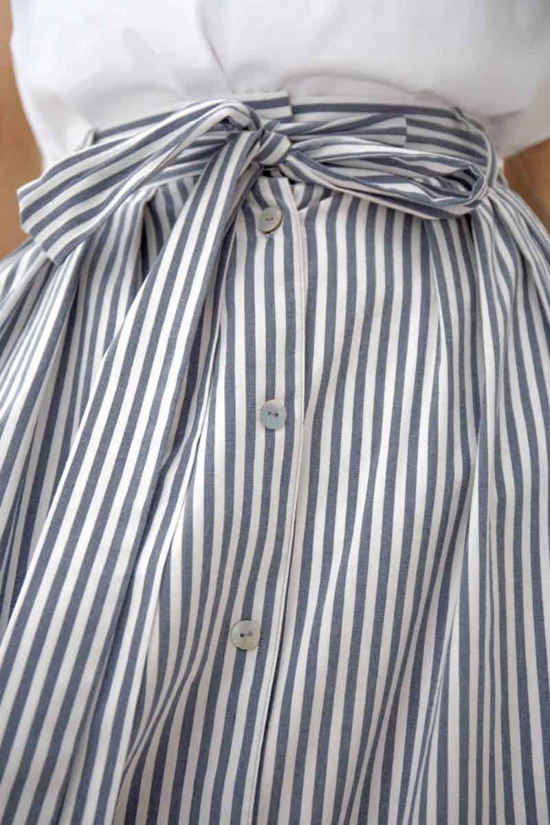 Grey Striped Midi Skirt Gigi