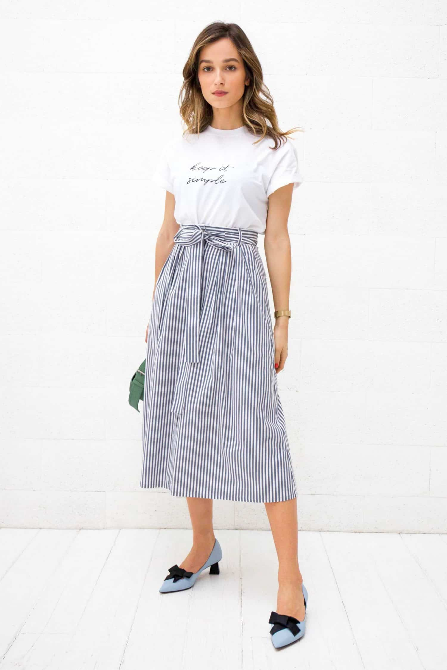 Grey Striped Midi Skirt Gigi